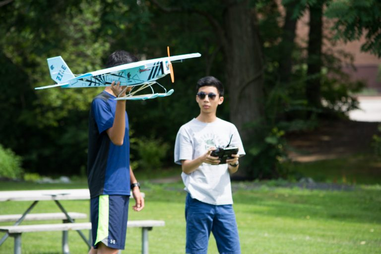 Students test a small plane they built in the Applied Physics and Engineering three-week program