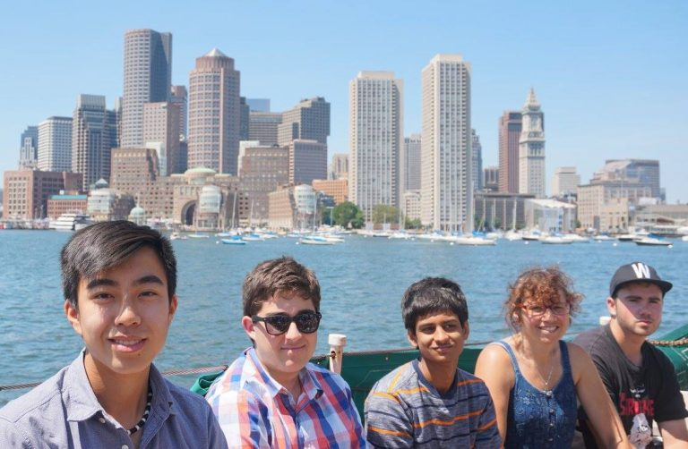 Students take a boat ride through Boston Harbor in the Architecture three-week program