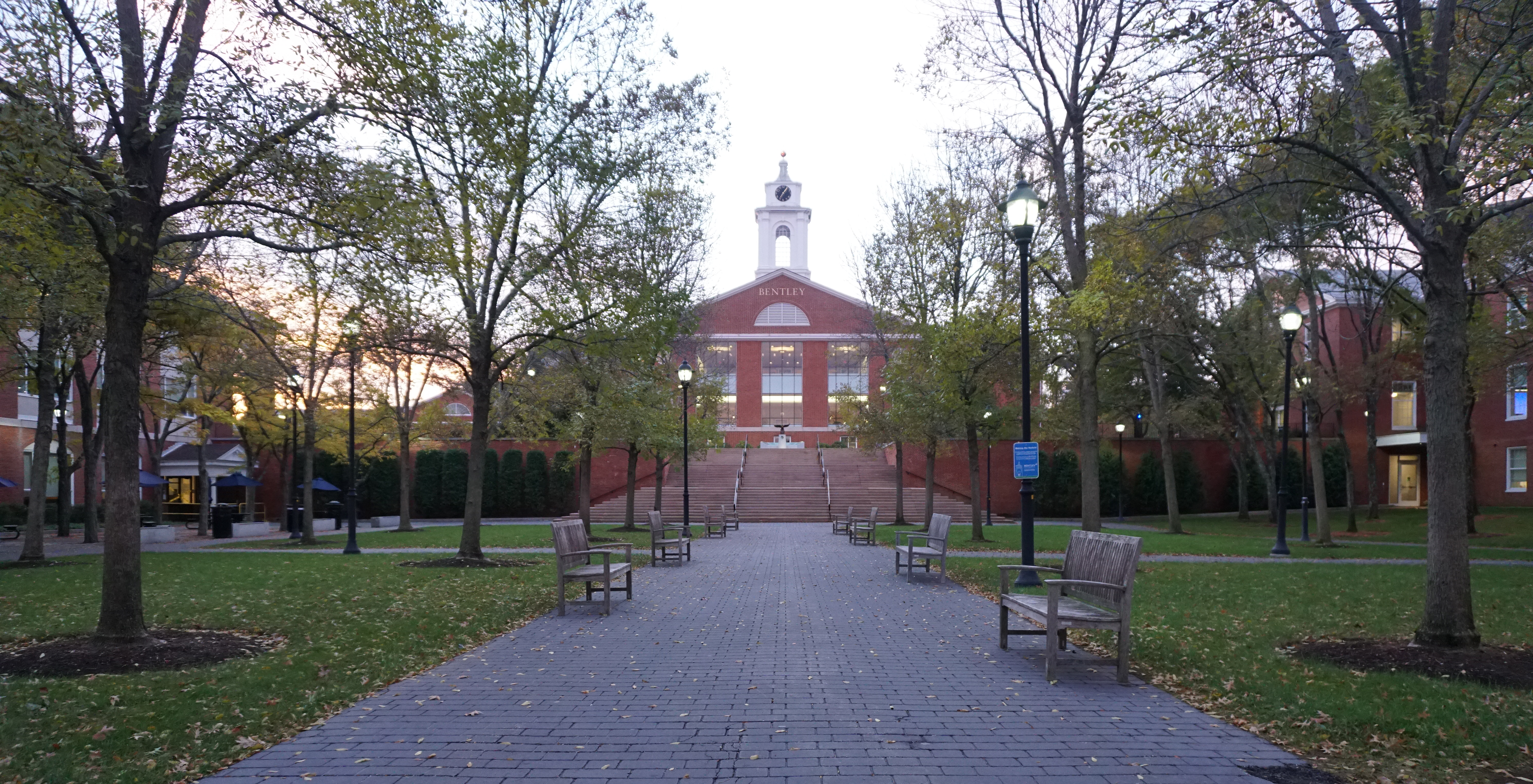 Courtyard between academic buildings at Bentley University