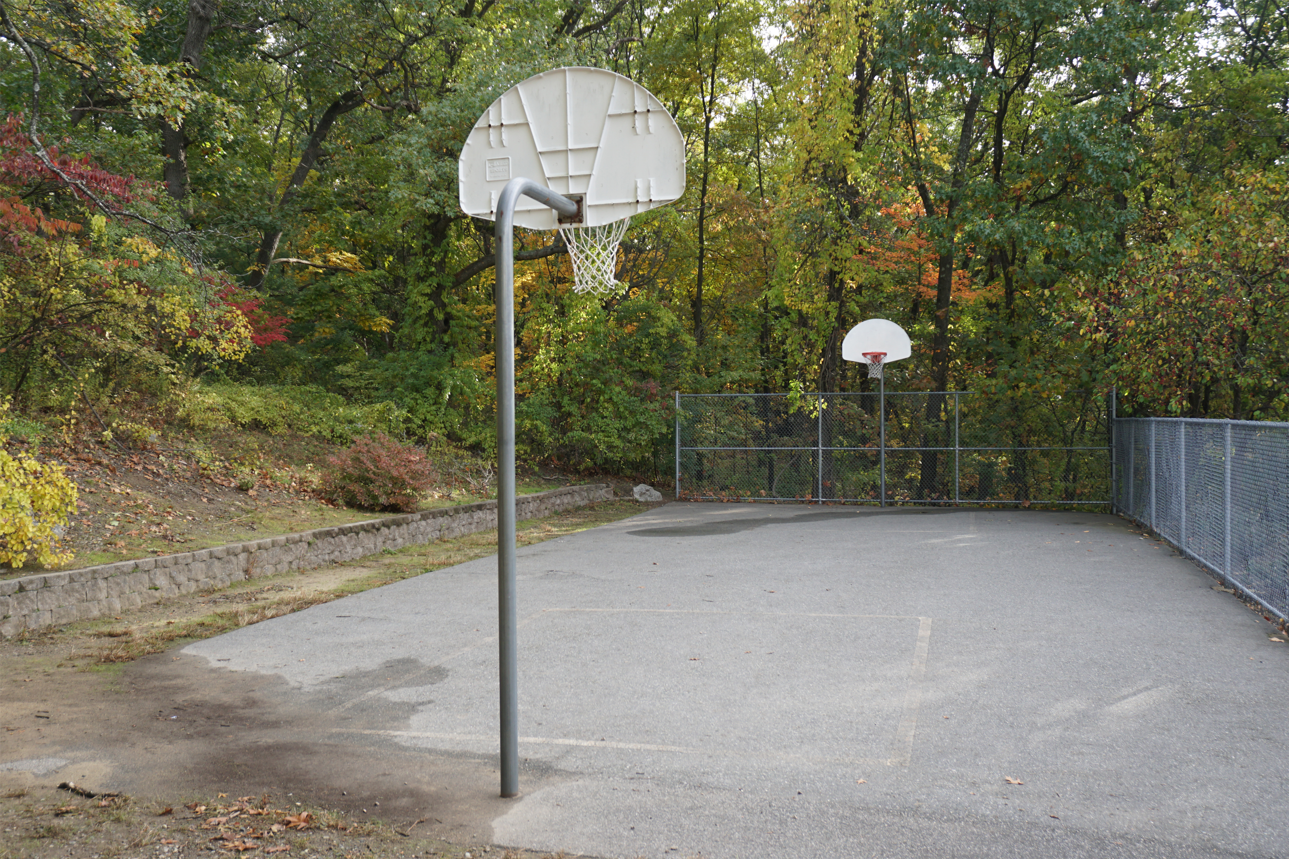 Basketball courts next to Bentley University dorms