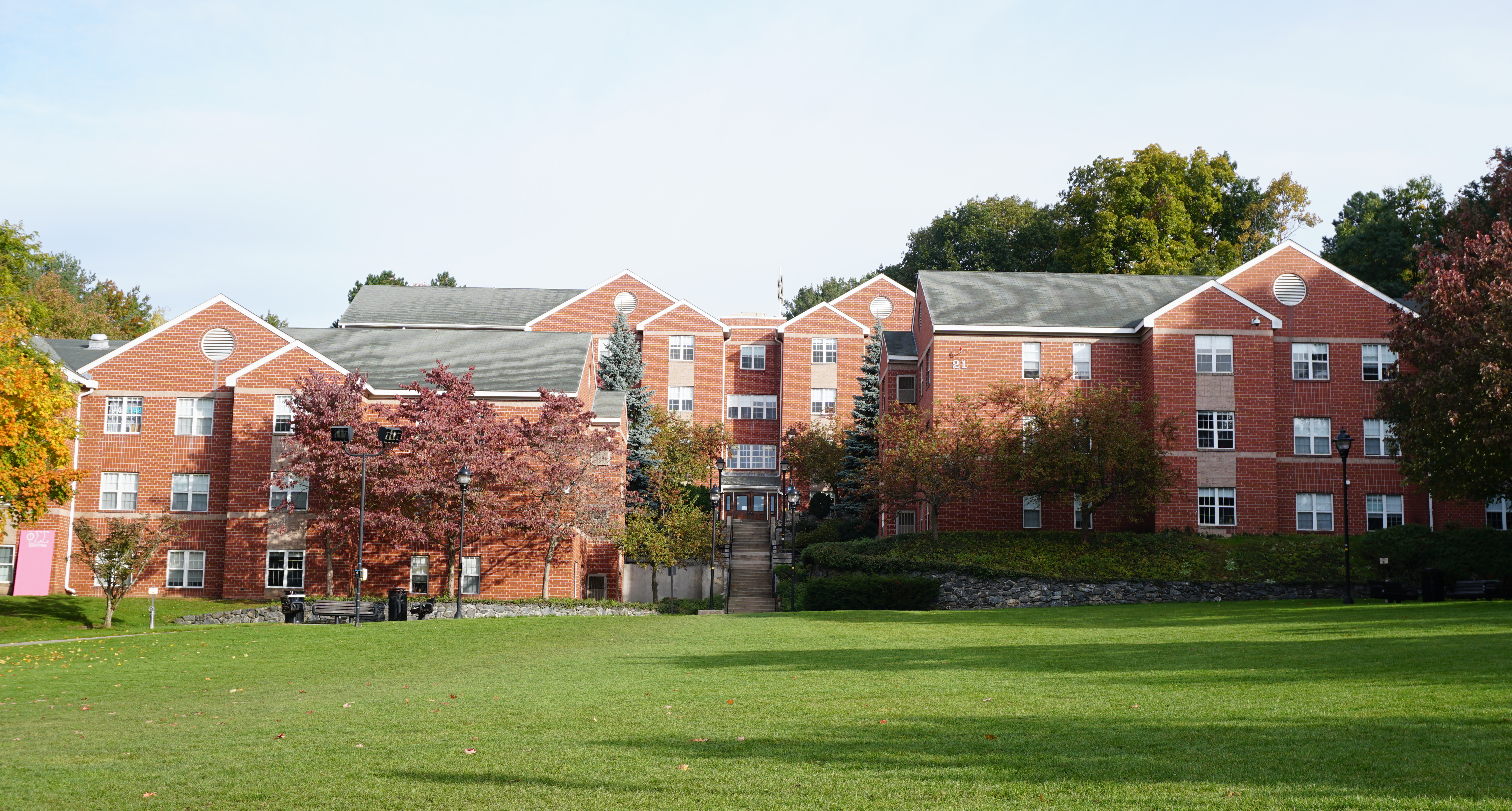 Dorms and courtyard at Bentley University