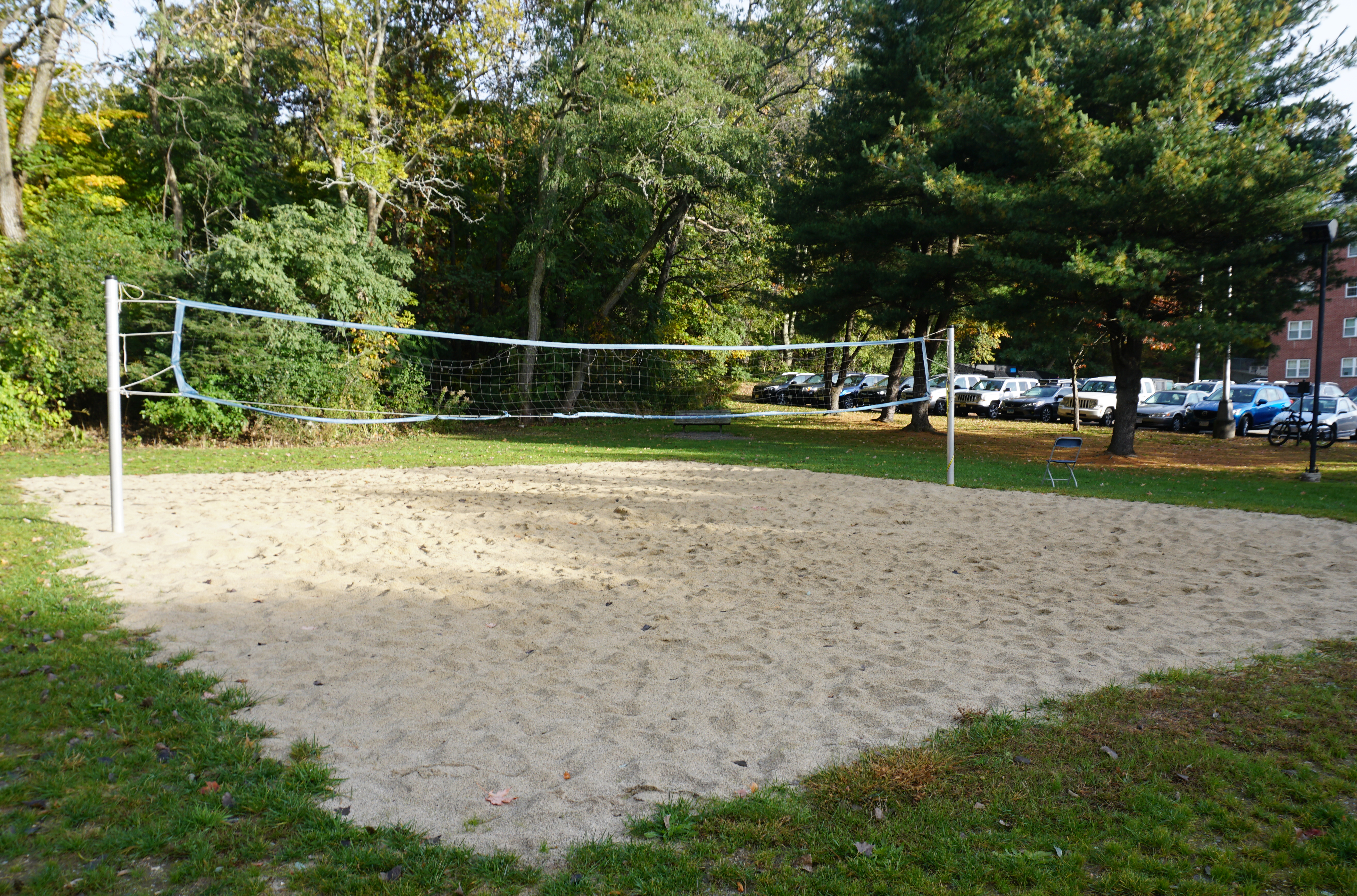 Sand volleyball court at Bentley University