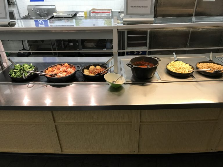 Hot lunch offered at Bentley University dining hall
