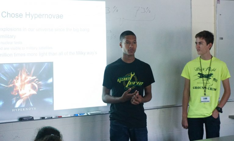 Students presenting their research from the Physics of Space one-week program