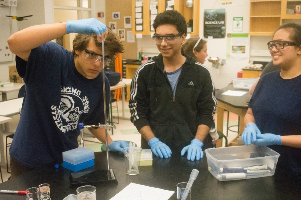 Students do a chemical experiment in the Biological Research three-week summer program