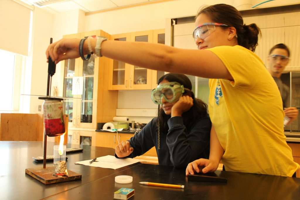 Students do a chemical experiment in the Polymer Chemistry one-week program