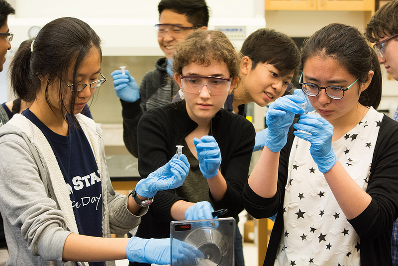 Students do an experiment in the Biological Research three-week program