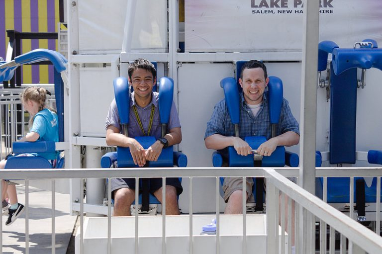 Students go on a ride at Canobie Lake Park in the Applied Physics and Engineering three-week summer program