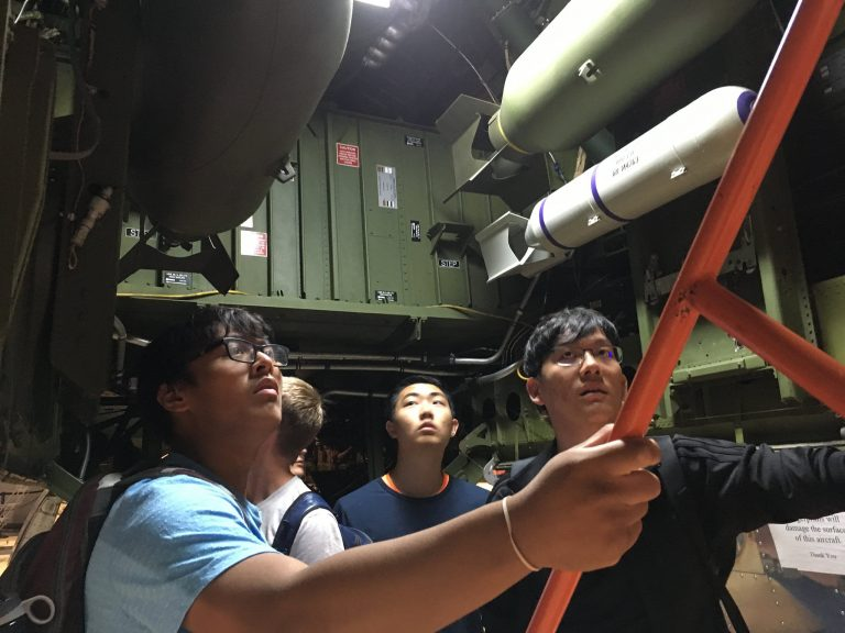 Students go inside a wind tunnel in the Applied Physics and Engineering three-week summer program