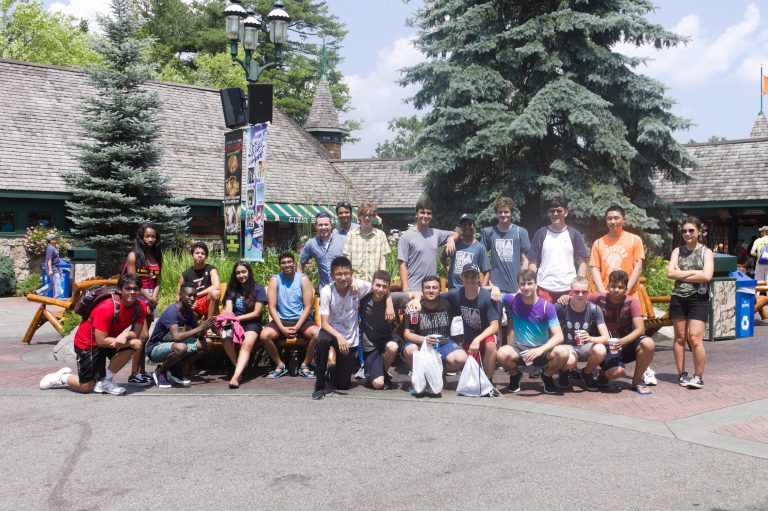 Students pose for a photo on a field trip in the Applied Physics and Engineering three-week summer program