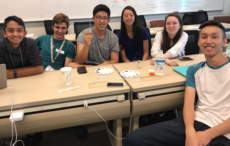 Students pose for a photo in the Biological Engineering three-week summer engineering program