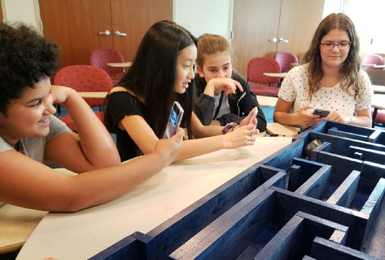 Student do an experiment in the BioTech and Pharma Research three-week summer science program