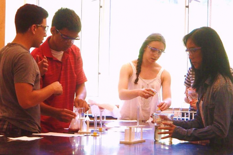 Students do an experiment in the Chemistry Edge one-week summer edge program
