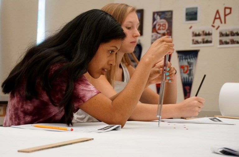 Students do an experiment in the Geometry Edge one-week summer program