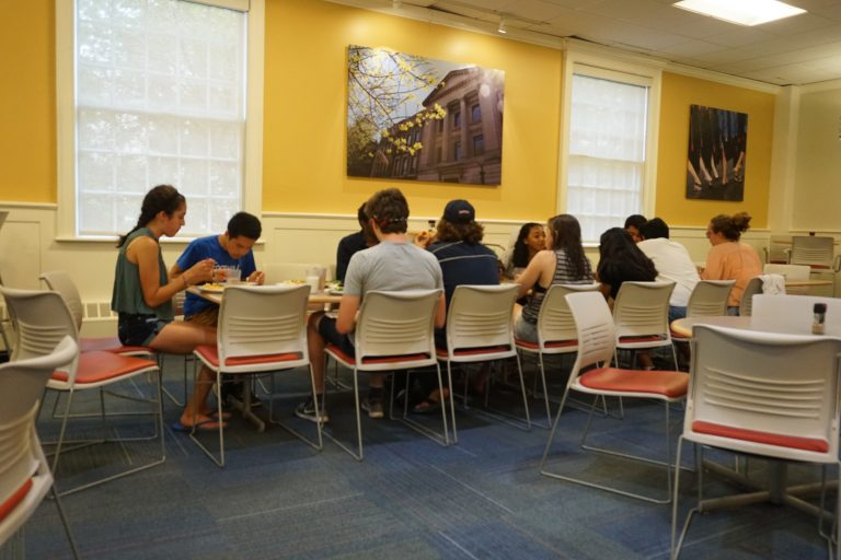 Students eat lunch in the Longwood Medical Area