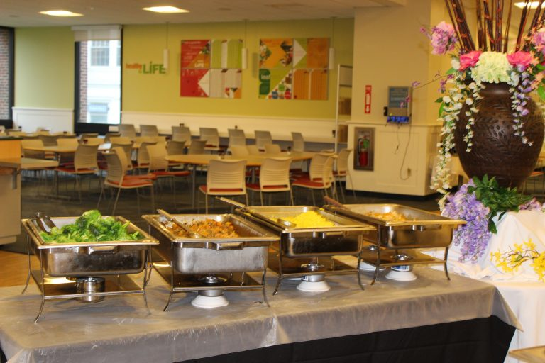 Shot of some of the hot food offered at Longwood Residential