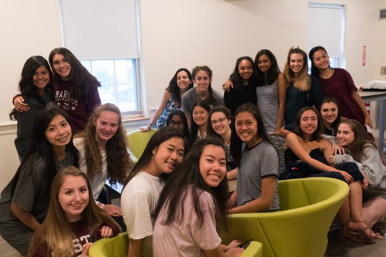 Students pose in the Simmons University dorms
