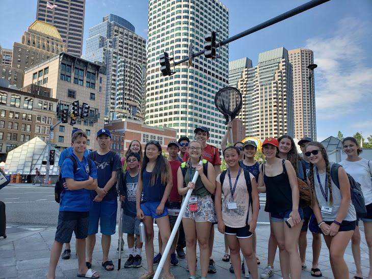 Students take a picture while visiting Boston in the Marine Biology three-week summer science program