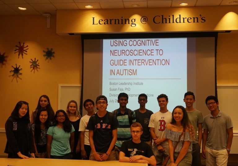 Students present their research findings on a field trip in the Neuroscience Research three-week summer science program