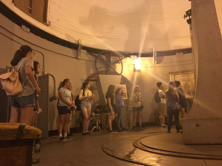 Students visit an observatory in the Physics of Space one-week summer science program