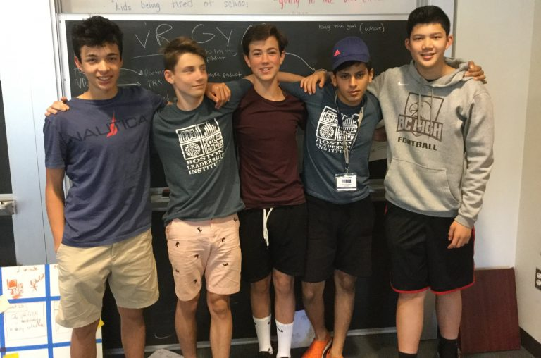 Students pose for a picture in the STEM Entrepreneurship three-week summer science program