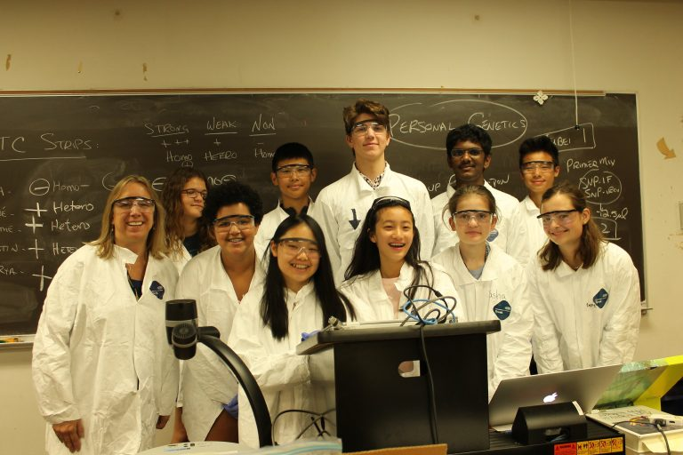 Students pose for a picture in the BioTech and Pharma Research three-week summer science program