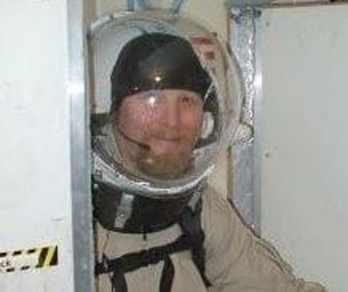 Teacher Vince Coljee participates in a mock mars mission experiment
