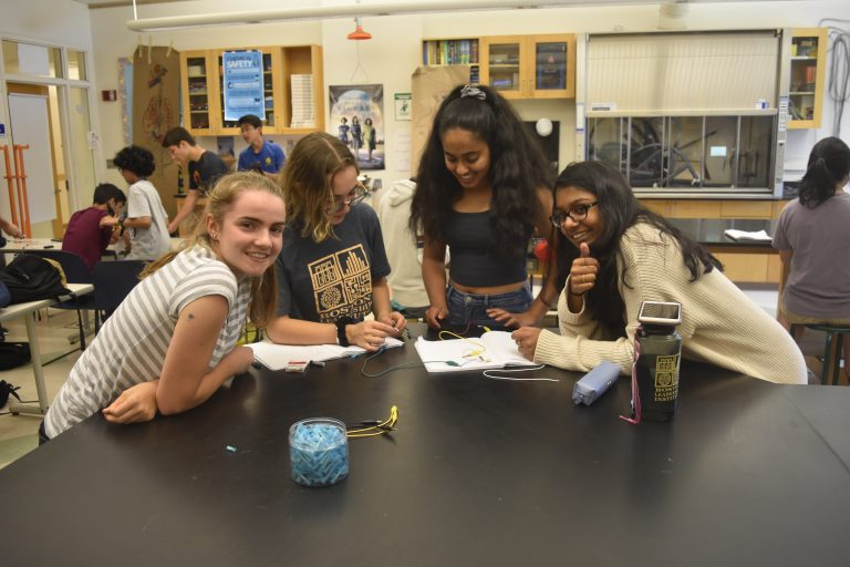 Students do an experiment in the Biomedical Engineering three-week summer engineering program