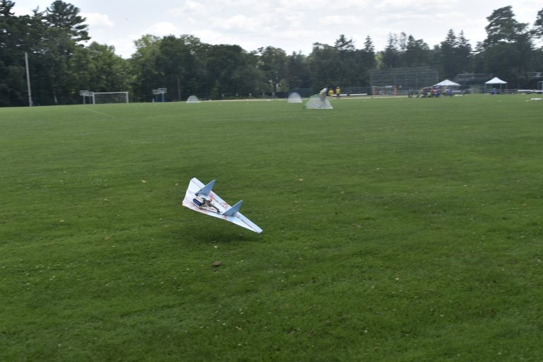 Photo of a remote-controlled plane built by students in the Applied Physics and Engineering three-week summer engineering program