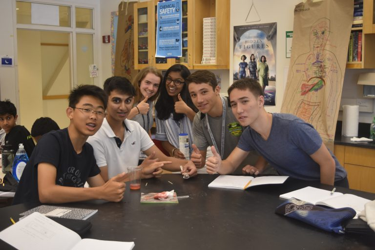 Students pose for a photo in the Biomedical Engineering three-week summer engineering program
