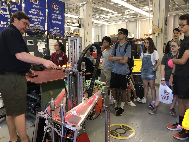 Students test out robotic equipment in the Engineering: Electronics and Robotics three-week summer engineering program