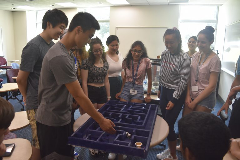 Students do an experiment in the BioTech and Pharma Research three-week summer science program