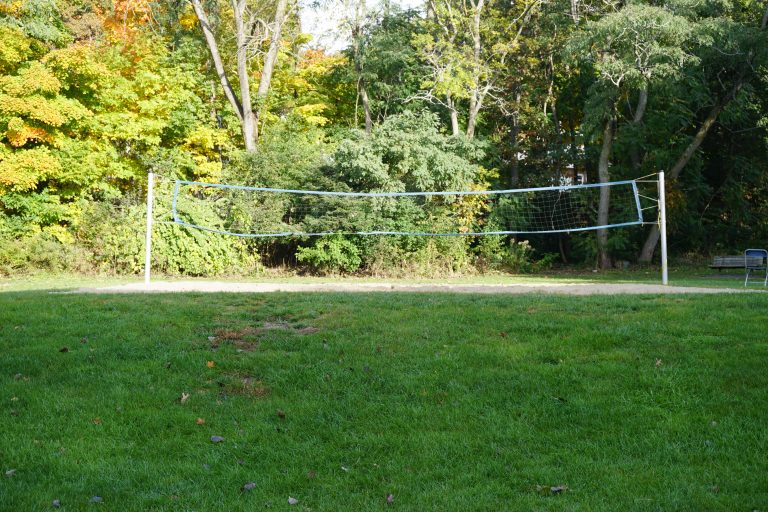 Volleyball court at the Bentley University campus