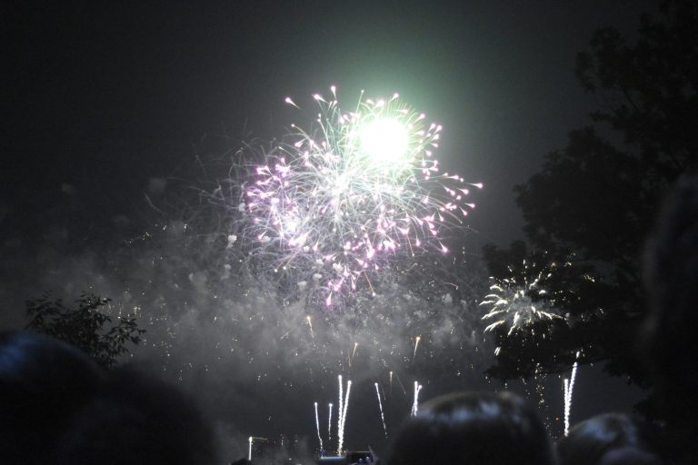 Students go watch the Boston fireworks display during the 4th of July at the Longwood campus