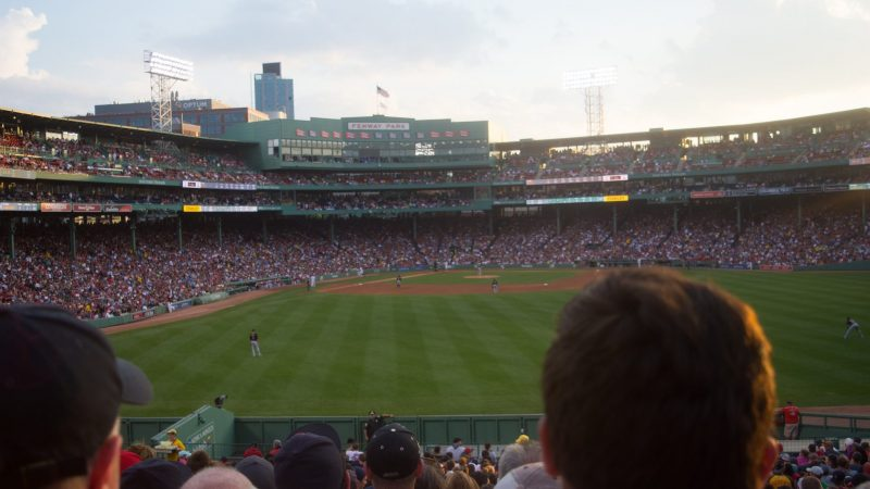 Students on field trip to watch baseball game at Fenway Park in Boston, from Sports Statistics one-week program