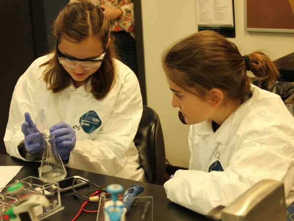 Students do chemical experiments in the Biotech and Pharma three-week program