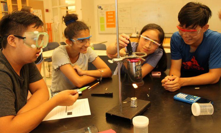 Students do a chemical experiment in the Chemistry Edge one-week program