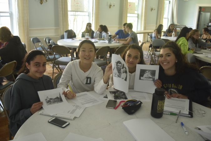Students show their Rorschach drawings in the Psychology Research three-week summer medical program